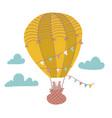 cute bear is flying in a hot air balloon cartoon vector image vector image