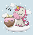 cute unicorn and owl on cloud vector image vector image