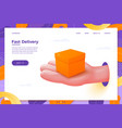 delivery cartoon realistic hand holding box vector image
