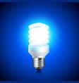 Energy saving light bulb glowing on dark vector image vector image