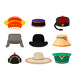 flat set of different national headwear vector image vector image