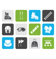 Flat ski and snowboard equipment icons vector image vector image