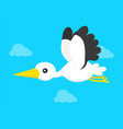flying stork in blue sky modern flat vector image