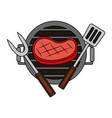 grill barbecue steak fork and spatula vector image vector image