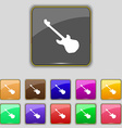 Guitar icon sign Set with eleven colored buttons vector image