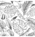 hand drawn tropical leaves pattern sketch drawing vector image
