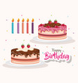 happy birthday cake and candles celebration card vector image