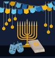 happy hanukkah card with chandelier vector image