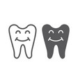 happy tooth line and glyph icon teeth and vector image