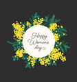 happy women s day lettering surrounded by blooming vector image