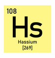 hassium chemical symbol vector image vector image