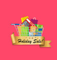 holiday sale banner cart full of shopping bags vector image