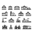 house icons set collection elements fortress vector image vector image