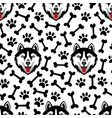 husky dog black and white seamless pattern vector image vector image