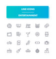 line icons set entertainment vector image vector image
