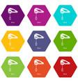mixer kitchen icons set 9 vector image vector image
