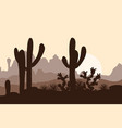 morning landscape with saguaro cacti prickly pear vector image