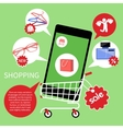 Online shopping cart with smartphone vector image