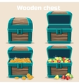 opened and closed chest with coins diamonds vector image vector image