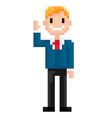 pixel character man waving hand and smiling vector image vector image