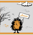 sad hedgehog autumn vector image vector image