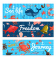 sea journey horizontal banners vector image vector image