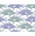 seamless sea pattern different fish silhouettes vector image vector image