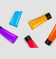 set colorful tubes acrylic painting vector image