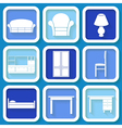 Set of 9 icons of furniture vector image vector image