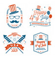 Set vintage 4th july design in retro style