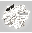 Summer clothes colorless vector image