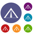 tent icons set vector image vector image