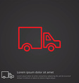 truck outline symbol red on dark background logo vector image