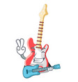 with guitar character electric guitar in wooden vector image