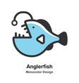 anglerfish monocolor vector image