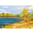 Autumn landscape outdoors river shore vector image