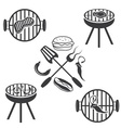 bbq labels set and design elements vector image