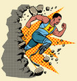 breaks the wall disabled african runner with leg vector image vector image