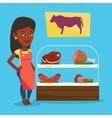 Butcher offering fresh meat in butchershop vector image vector image