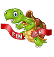 cartoon turtle wins crossing finish line vector image vector image