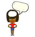 cartoon woman thinking with speech bubble vector image vector image