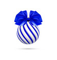 christmas blue ball with blue bow and vector image vector image