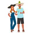 couple posing in sombrero ethnic accessory vector image vector image