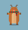 cute fat big reindeer wear scarf flat design vector image vector image