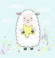 cute white sleeping sheep vector image vector image