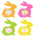 Easter bunnies with eggs isolated on white vector image vector image