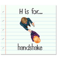Flashcard letter H is for handshake vector image vector image
