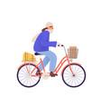 flat cartoon bicycling vector image vector image