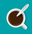 flat cup of coffee top view vector image vector image