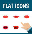 flat icon mouth set of pomade teeth lips and vector image vector image